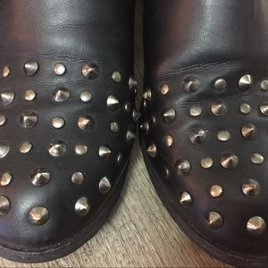 Forever 21 Black  Combat Ankle Boots With Spikes